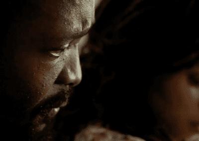 Black man looking tense